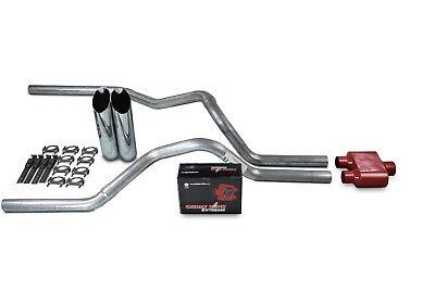 94-03 Dodge Ram Truck Mandrel Dual Exhaust Kit Glasspack Muffler Chrome Tips