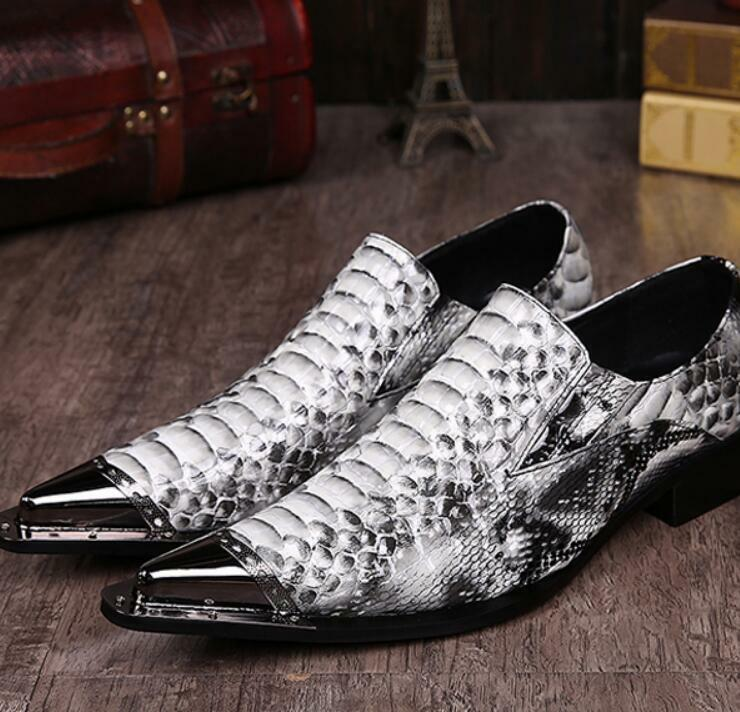 Uomo Metal Pointed Toe Pelle Business Formal Dress Slip On Shoes Plus SZ 46