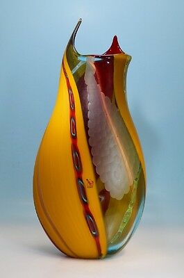 Vase Murano Luca Vidal mit Battuto, signiert und Label 45 cm - 130174 -