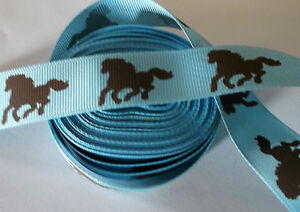 1m horse pony 22mm grosgrain ribbon hair clip sewing craft blue brown horse - <span itemprop='availableAtOrFrom'>Scarborough, North Yorkshire, United Kingdom</span> - 1m horse pony 22mm grosgrain ribbon hair clip sewing craft blue brown horse - Scarborough, North Yorkshire, United Kingdom