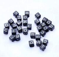 200pcs Mixed Alphabet /Letter Acrylic Cube Black Beads 6x6mm free shipping J002