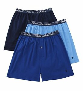 21eba784ec53f1 Polo Ralph Lauren Men s 3-Pack Blue Mix Cotton Knit Boxer Shorts ...
