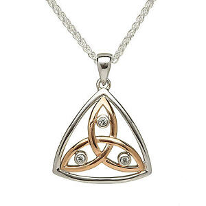 New silver rose gold stone set trinity knot pendant necklace image is loading new silver amp rose gold stone set trinity aloadofball Image collections