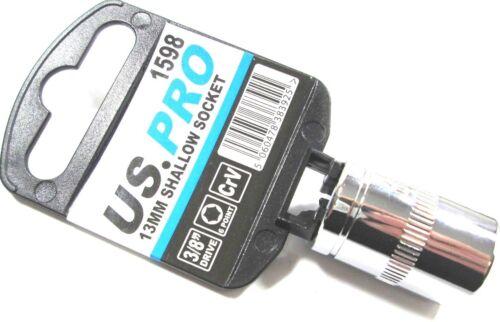 "US Pro  3//8/"" Drive 10mm /& 13mm 6 point Single Hex Shallow Socket 1597//1598"