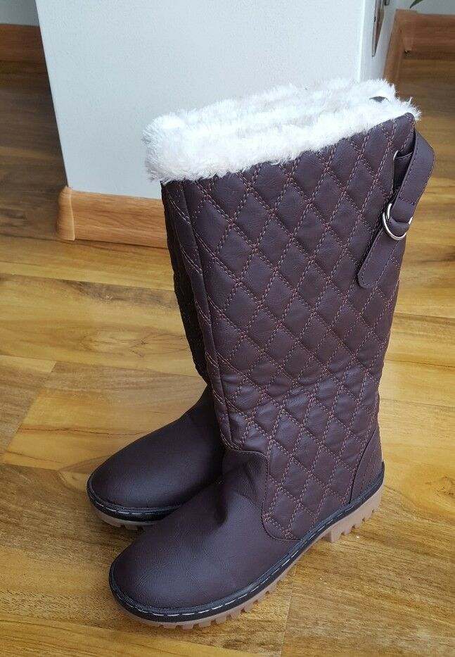 ELLA SHOES LADIES Brown Warm Fur Fleece Lined Flat UK 3 Boots BRAND New