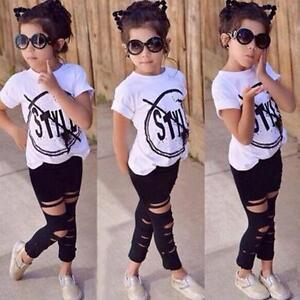 2PCS-Kids-Toddler-Baby-Girl-Outfit-T-shirt-Tops-Tee-Pants-Legging-Set-Clothes-UK