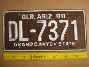 License Plate, Arizona, Dealer, Grand Canyon St8, 1988, with
