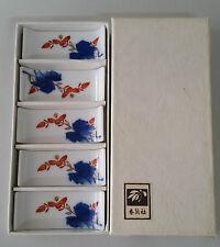 BOX OF 5 FUKAGAWA PORCELAIN CHOPSTICK / KNIFE RESTS - LEAF DESIGN