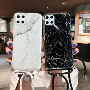 with Lanyard Marble Soft Case Cover For Samsung Galaxy S20 Ultra S9 A71 A51 A31