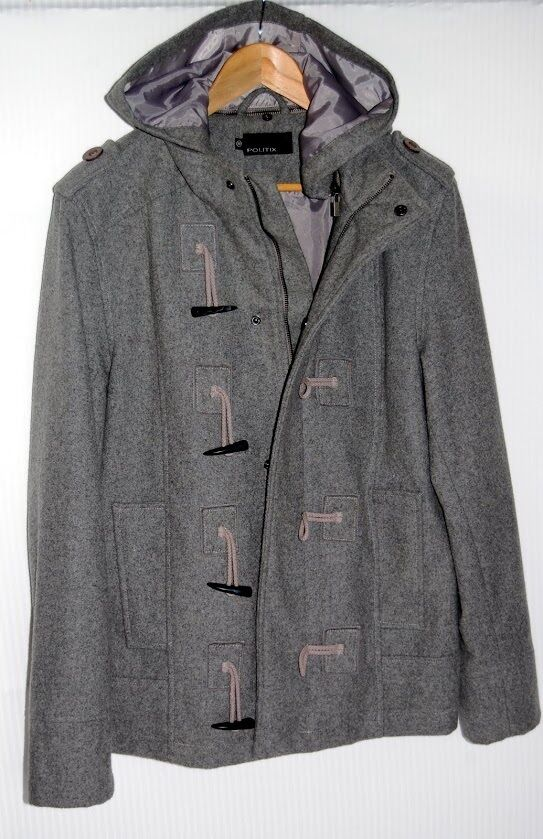 MEN'S Grey Wool Hooded Duffle Style Military Coat in excellent condition RRP
