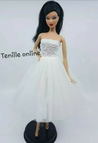New Barbie doll clothes outfit princess cocktail ballet dress white