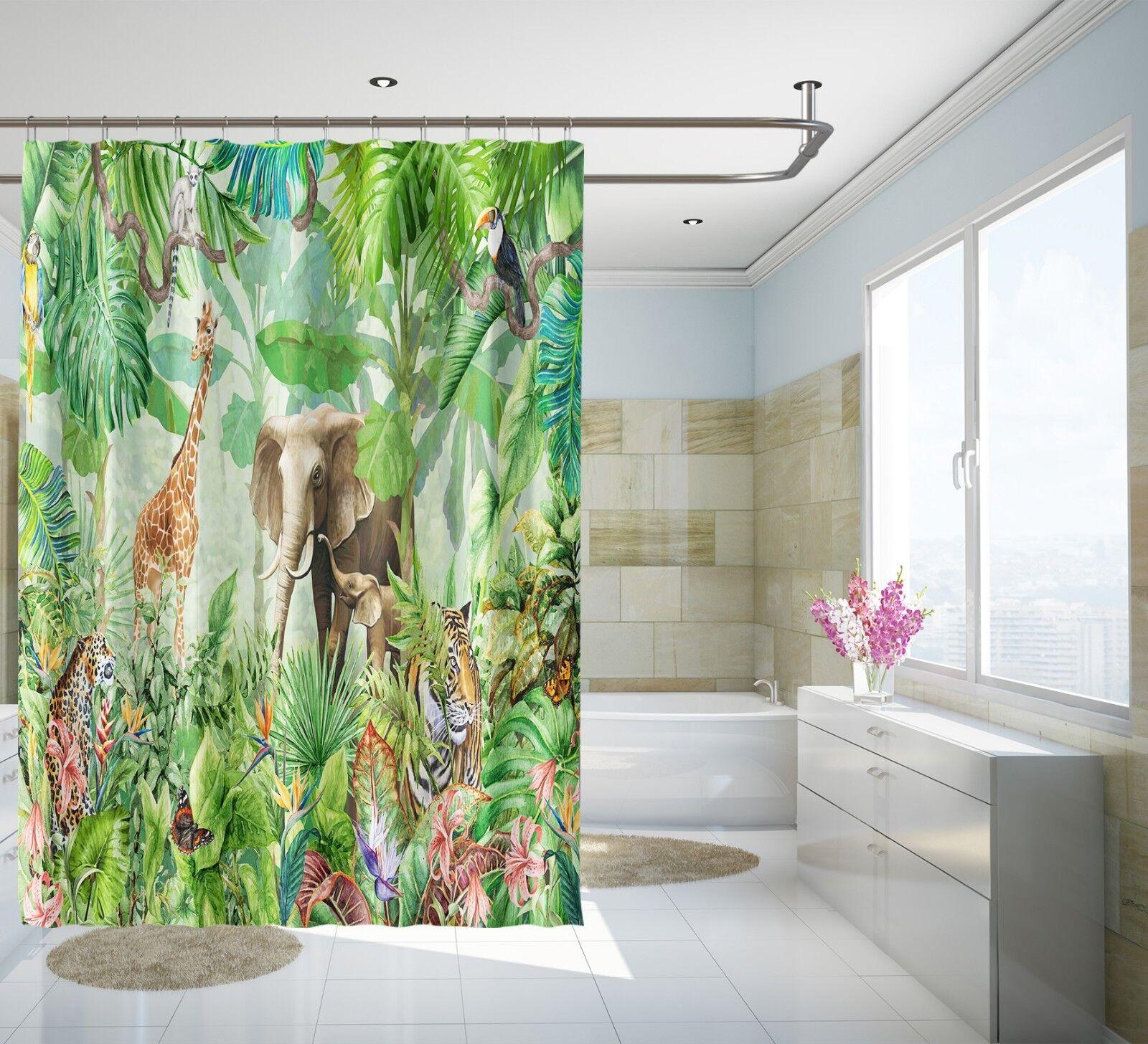 3D Tier Grün Wald 8 Duschvorhang Wasserdicht Faser Bad Daheim Windows Toilette