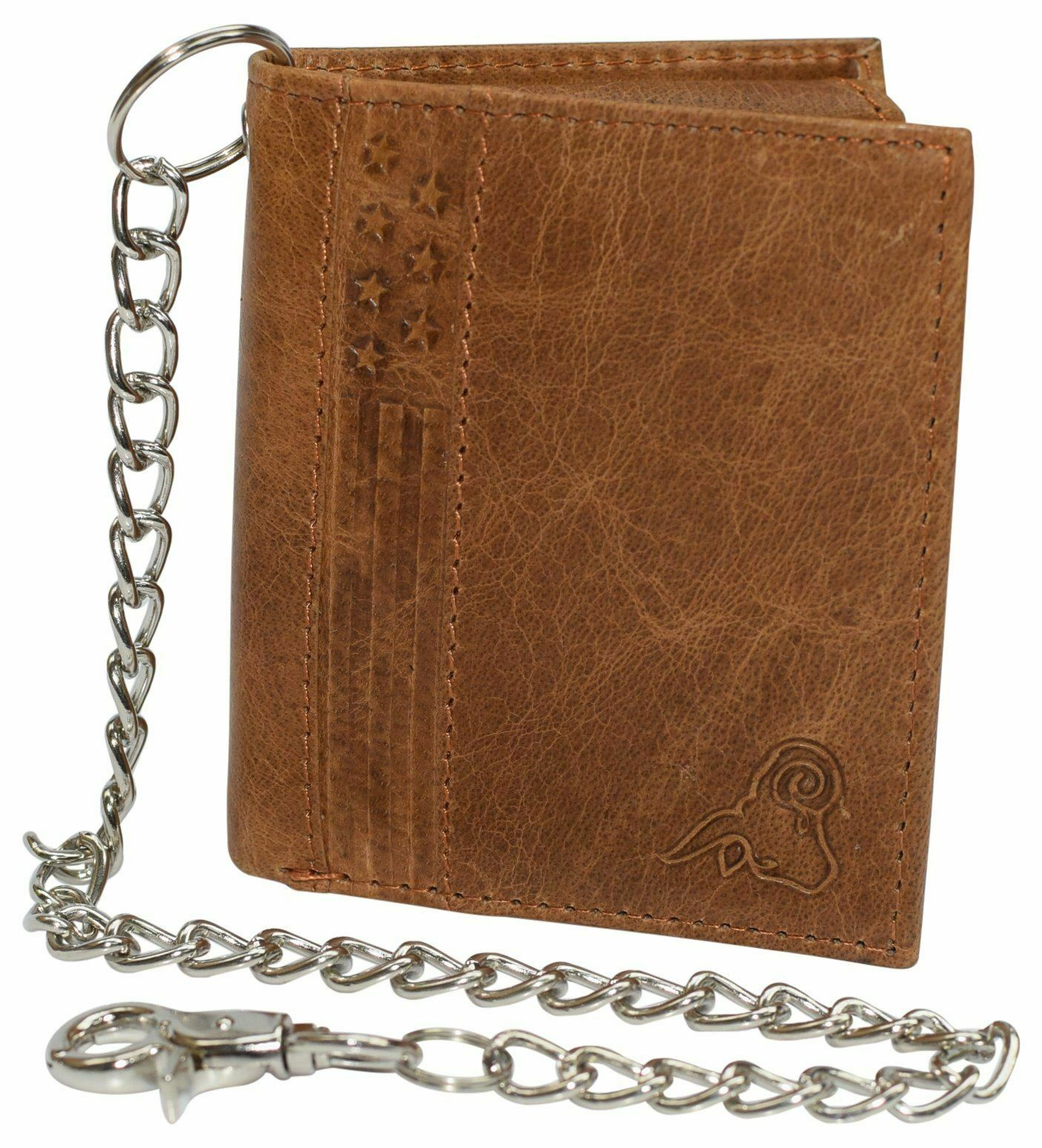 Men's Chain Biker RFID Blocking Genuine Leather L Shape Bifold Wallet USA Series