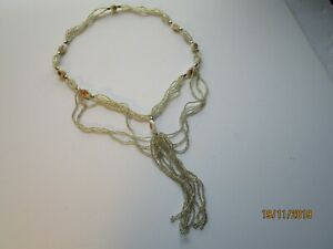 Vintage Pink Rose and Silver Bead Necklace Long Tassel Costume Jewelry 17""