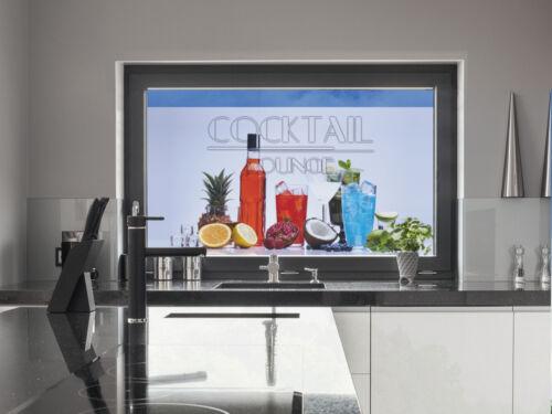 Farbiger Sichtschutz Fensterfolie Folie für Küche Cocktail Lounge Flasche