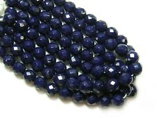 8mm Opaque Navy Blue Czech Glass Firepolished Round Beads (25) #1686