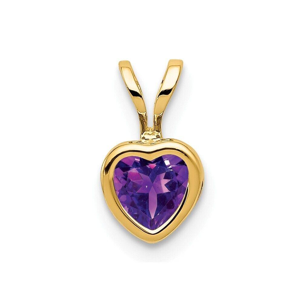 Genuine 14k Yellow gold 5mm Heart Amethyst bezel pendant 0.42 ct 6x10mm 0.37 gr
