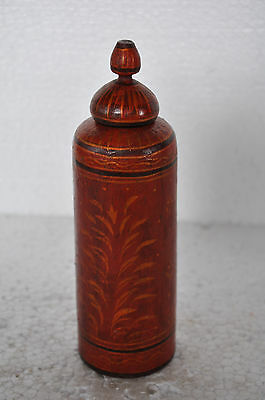 Old Wooden Handcrafted Cylindrical Long Unique Powder / Pill Box, Collectible