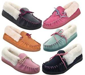 abd1eb436c5 New Womens Suede Moccasin Faux Fur Lined Soft Warm Slippers Mules ...