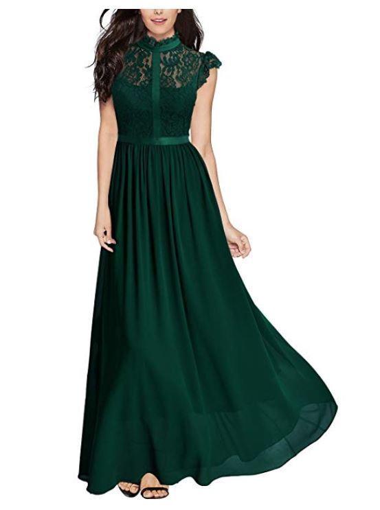 def006e4a Miusol Women's Floral Lace Sleeveless Evening Party Maxi Dress Smal Formal  Green nvxjyi372-Dresses