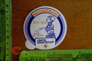 Alter-Aufkleber-Kraftstoff-Oel-Additive-UNION-KRAFTSTOFF-Sternzeichen-WASSERMANN