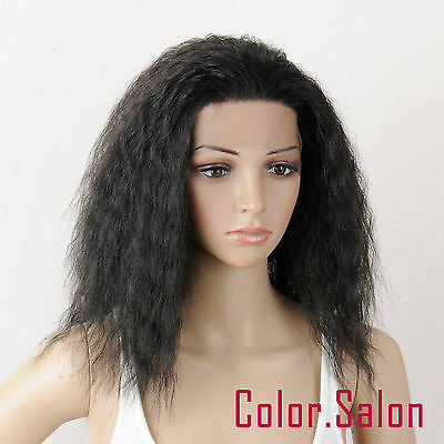 HAND TIED Synthetic LACE FRONT FULL WIGS Heat Safe GLUELESS Off Black 98#1B