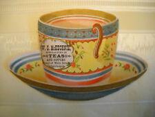 TEA STORE Victorian antique DIE-CUT TRADE CARD CHROMO tea cup CANANDAIGUA NY