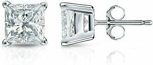 4mm-White-Sapphire-Princess-Stud-Earrings-set-in-Solid-Sterling-Silver