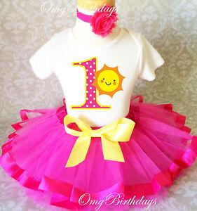 b920fe86b Sunshine Sun Yellow Hot Pink Baby Girl 1st First Birthday Tutu ...