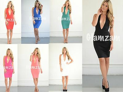 New Womens Ladies Sexy Plunge Backless Halterneck Party Midi Glam Bodycon Dress