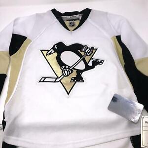 Pittsburgh-Penguins-White-Hockey-Jersey-Stitched-Logo-Reebok-NHL-Youth-S-M
