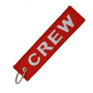 Red-CREW-Keychain-Keyring-Embroidery-Luggage-Tag-Motorcycle-Key-Chain-Ring