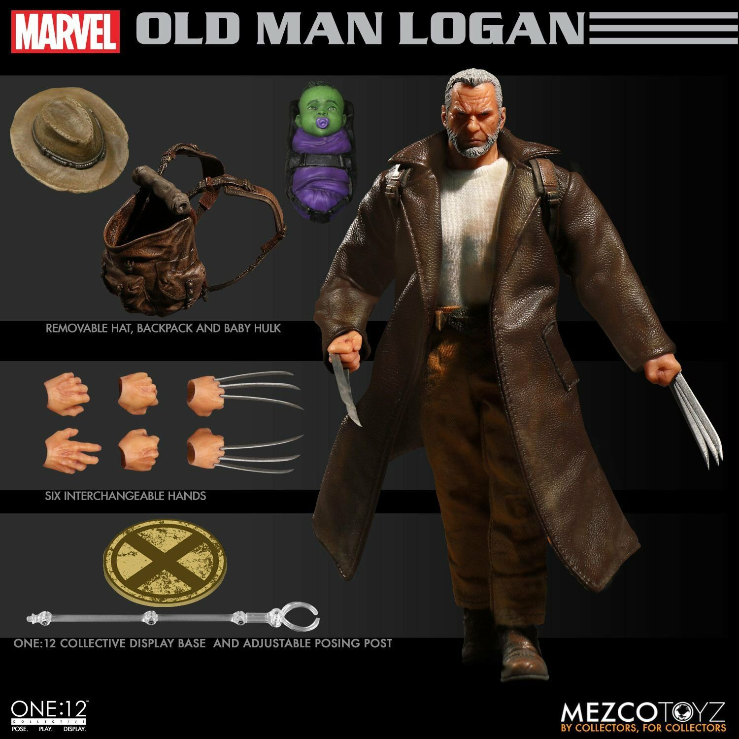 New ONE 12 Collective Old Man Logan 1 12 Scale Mezco Action Figure w Baby HULK
