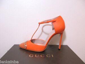 eabb54766d5 Image is loading Gucci-Coline-Studded-Nose-T-Strap-Pumps-Shoes-