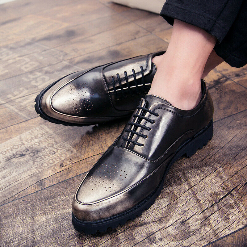 Mens Carved Pointy Toe Brogue Metal color Lace up Retro Casual Elegant shoes New