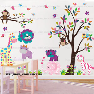 Giant-jungle-Aniaml-tree-wall-stickers-Hibou-elephant-Zebre-autocollant-decoration-de-creche
