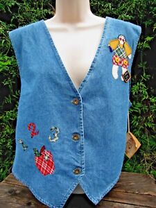 Boutique New Appliqued Schoolhouse Gave Xl Denim Vest Lærer Uwnq7W806a