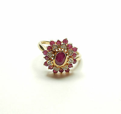Modern 9ct Yellow Gold RUBY & DIAMOND LOVE HEART CLUSTER RING 3.8g UK P 1/2