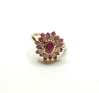 Modern 9ct Yellow Gold RUBY & DIAMOND LOVE HEART CLUSTER RING 3.8g UK P 1/2