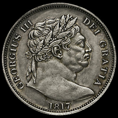 1817 George III Milled Silver 'Bull Head' Half Crown, EF #2