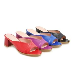 Women-039-s-Peep-Toe-Mules-Sandals-Block-Mid-Heels-Slippers-Casual-Shoes-US4-5-10-5