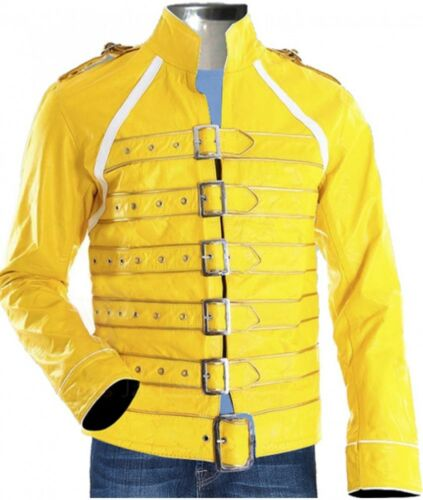 Freddie Mercury Yellow Concert Queen/'s Mens Yellow Halloween Faux Leather Jacket