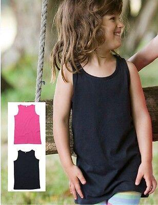 Girls Kids Plain Cotton Long Length Sleeveless T-Shirt Tshirt Vest Tank Top