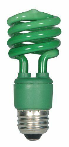 Green Mini Spiral Color CFL Light Bulb Satco S7272 13 Watt 60 Watt