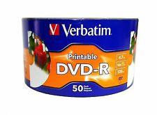 100 Verbatim 16X White Inkjet Hub Printable DVD-R DVDR Blank Media Disc 4.7GB