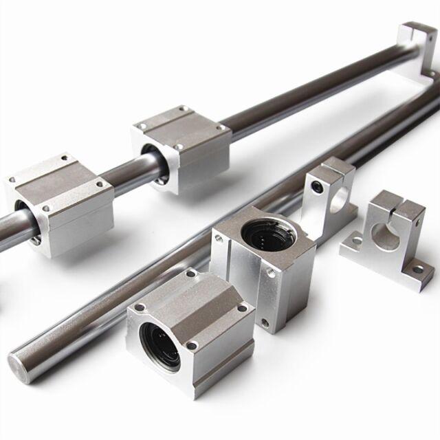 OD 8mm Shaft Rod Optical Axis /& Linear Rail Support Ball Bearing Block Set