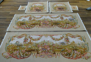 Vintage Luxury French Hand Woven AUBUSSON Floral Sofa Chair Cover Swirls Louis