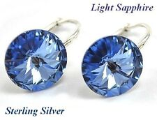 *STERLING SILVER*- RIVOLI -Light Sapphire Earrings made with Swarovski Crystals