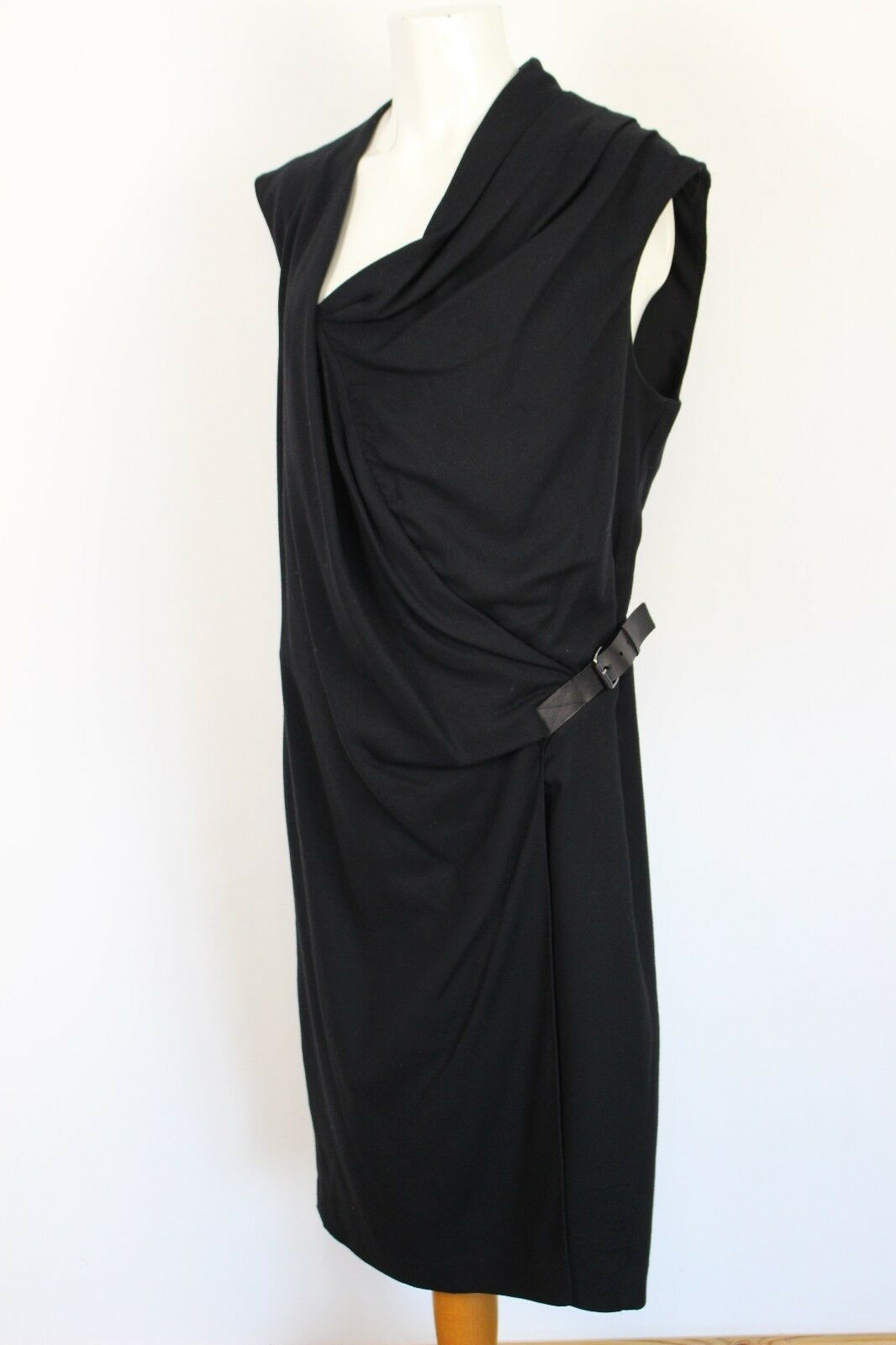 HELMUT LANG Stunning VIRGIN WOOL BLEND Black Belted DRESS - Size UK 6 -  LBD