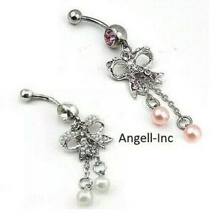 top-rated real dependable performance new & pre-owned designer Details about Love Bow Belly Bar Button Ring Bar Body Piercing Rhinestone  Reverse Navel Bars